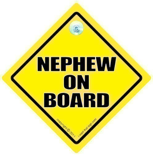 Nephew On Board, Car Sign, Yellow Text, Baby on Board Sign Style, Bumper Sticker, Nephew Car Sign, Baby on Board, Baby Sign, Baby Car Sign, Nephew On Board Sign