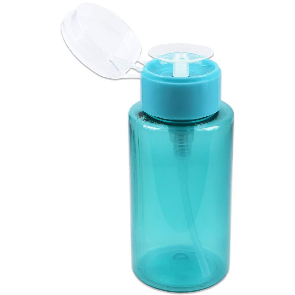 PANA Professional No Wording Labeled Push Down Liquid Pumping Empty Bottle Dispenser (7 oz, TEAL)