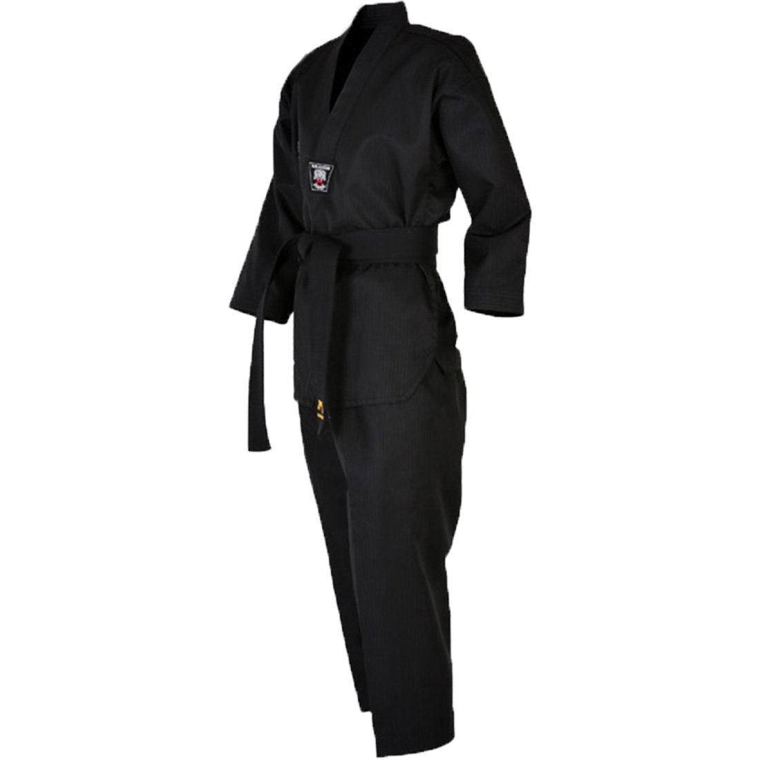 Mudoin Taekwondo 3 Color Uniform for Adults V-Neck Blue Red Black TKD Martial Arts Akido Hapkido WTF (180(170-180cm)(5.57-5.90ft), Black) by Mudoin