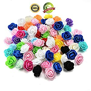 fake flowers Heads Artificial Flower PE Foam Roses Head Handmade Wedding Decoration Scrapbooking Gift Box DIY Wreath 50pcs 3cm (Multicolor) 91