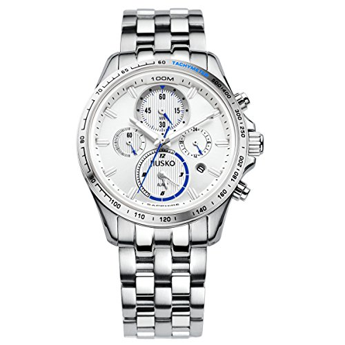 Jiusko Mens Multifunction Quartz Tachymeter Chronograph Silver Dress Watch - Sapphire - 24 Hr Dual Time - Alarm - Stainless Steel - Date - 108MS01 by JIUSKO