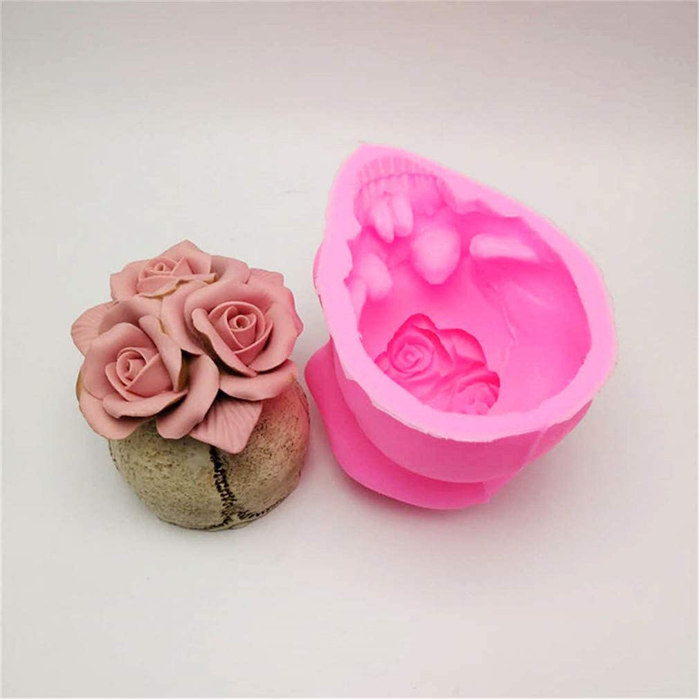 3D Rose Skull Silicone Mold Diy Candle Plaster Silicone Mold Halloween Decoration Tools