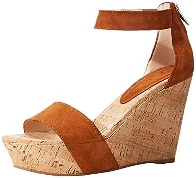 Pelle Moda Women's Clare Wedge Sandal, Cognac, 8 M US