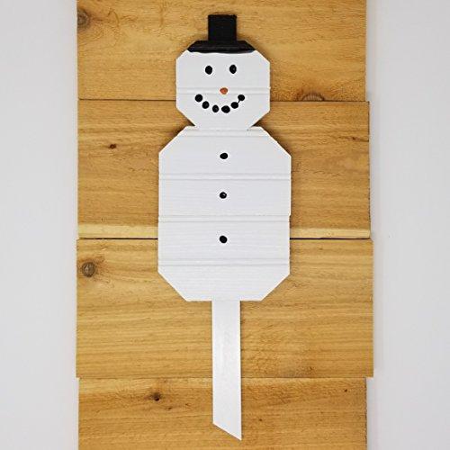 Reclaimed Beadboard Snowman Garden Stake - Made in USA