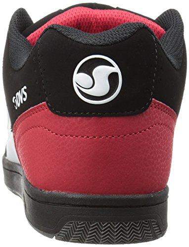 DVS (Elan Polo) Discord - skateboarding de cuero hombre Negro/Blanco/Rojo