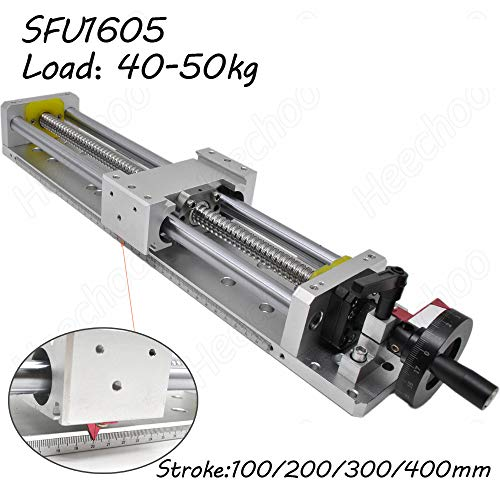 Linear Stage Actuator 300mm Ballscrew 1605 Optical Axis Linear Rail Guide Manual Slide Stage C7 with Ruler for DIY CNC Router Controller 4-Axis - Manual Slide