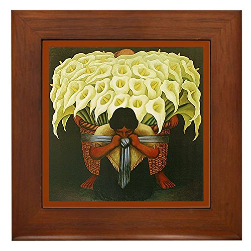 CafePress - Diego Rivera Cala Lily Vendor Art Framed Tile - Framed Tile, Decorative Tile Wall - Quality Decor Ceramic Tile Framed