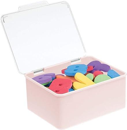 bamboline mDesign Contenitore portagiochi in plastica con coperchio trasparente//rosa chiaro macchinine Organizer ideale per la cameretta pennarelli Porta giochi ideale per pupazzetti puzzle