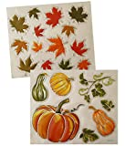 Welcome Fall Autumn Leaves Holiday Pumpkins With Sparkle Metallic Stickers/Window Clings (2 Sheets)