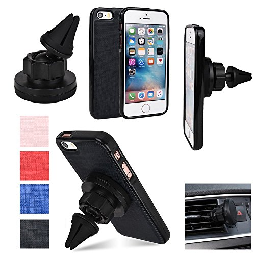 KroO Apple iPhone SE, iPhone 5/5s BLACK Magnetic Case | Shell Combo + Magnetic AC Vent Car Mount