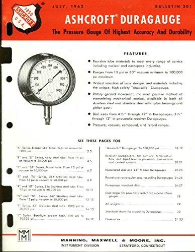Ashcroft Duragauge Pressure Gauges catalog 1962 Manning Maxwell & Moore ()