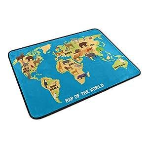 Mapa del mundo con animales decoración del hogar antideslizante Felpudo piso Felpudo para interiores de baño (23,6x 15,7)