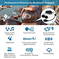 Motorcyle Bluetooth 4.1 Helmet Headset and Intercom Communication Systems Kit, Supports 8 riders group intercom, Handsfree Calls Voice Command 12hrs with Speakers headphones for Motorbike Skiing by BIBENE