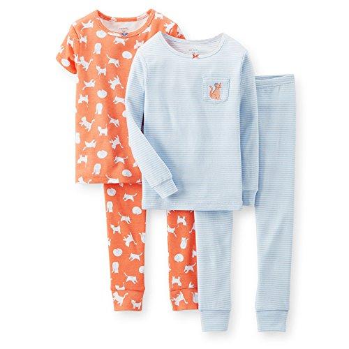 Carter's Little Girls 4 Piece Snug Fit Cotton Sleeper Pajamas (2t-5t)(kitty) (4T)