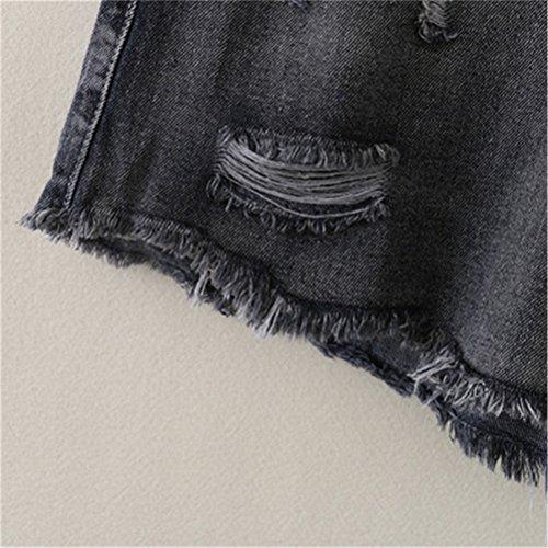 da Pantaloncini estensibile Dechired a vita donna FuweiEncore Jeans Nero Vintage ampia Retro Estate g68qxwx