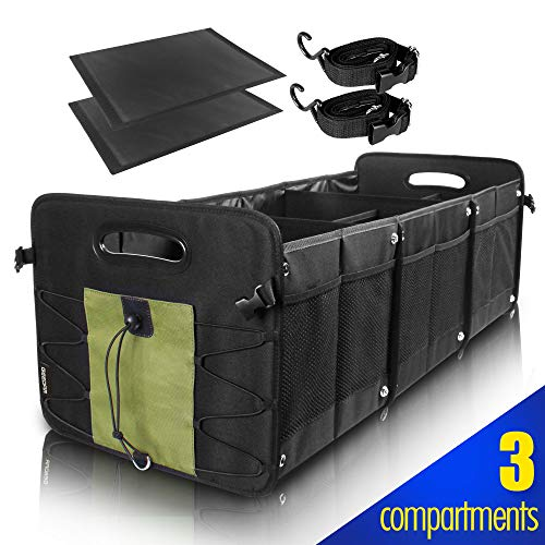 GEEDAR Trunk Organizer for Car SUV Trunk Organizers and Storage [3 Large Compartments] Collapsible Portable Non-Slip Bottom with Tie Down Straps