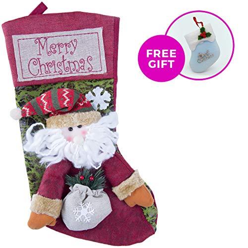 Ruslan_Ramazanov Christmas Stockings, 18 Santa Xmas Holiday Characters 3D Plush Decorations Holders Gift Bag (Santa)