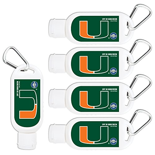 Miami Hurricanes Sport Sunscreen 5-Pack SPF 30 Travel Size with Clip, Water and Sweat Resistant 80 Minutes, UVA UVB Protection. NCAA Gifts for Men and Women.