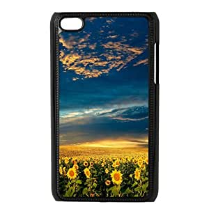Custom Sunflower Snap On Case Rubber Plastic Protector Cover For iPod Touch 4th Generation