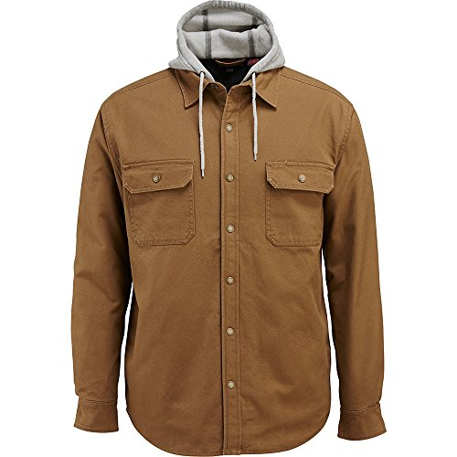WOLVERINE Men's Overman Fleece Lined Cotton Duck Canvas Hooded Shirt Jacket, Chestnut, Large (Mens Duck Canvas Jacket)