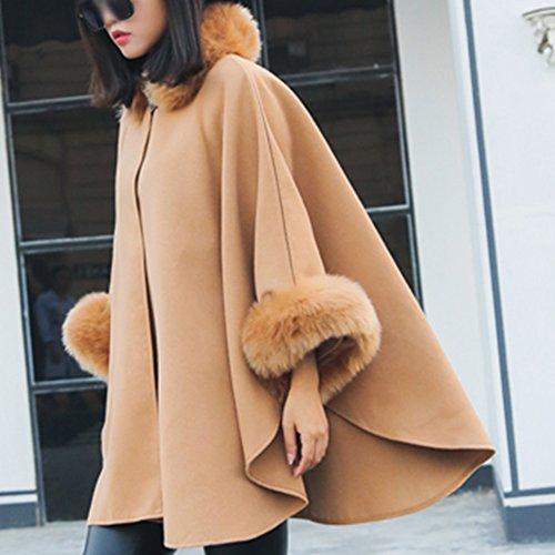 De Elegante Alto Capa Cuello Mujer Abrigo Sólido Para Color De Manto camello aqtnWgw84