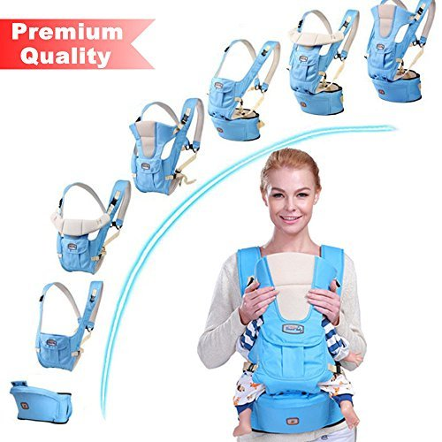 BABY CARRIER with HIP SEAT for 0-36 Months Ergonomic Baby Carrier Hiking Backpack Up to 50 Pounds Adjustable Pink and Blue Baby Carrier with Large Pocket 4 Positions for Infant Toddler (blue)