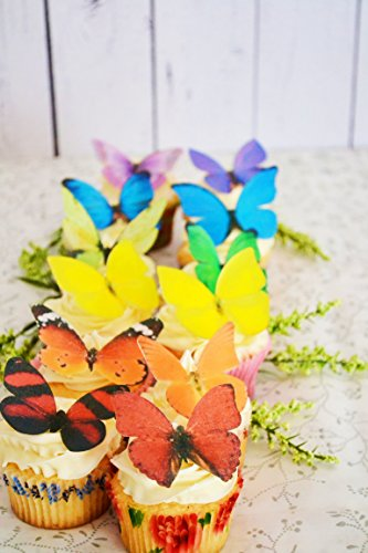 Edible Butterflies © -Large Rainbow Variety Set of 12 - Cake and Cupcake Toppers, Decoration by Sugar Robot Inc. (Image #2)