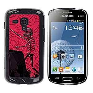 QCASE / Samsung Galaxy S Duos S7562 / dj set zombie esqueleto fiesta de baile de color rosa / Delgado Negro Plástico caso cubierta Shell Armor Funda Case Cover