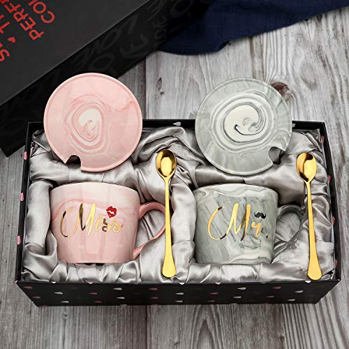 (exreizst Mr and Miss Couples Coffee Mugs - Bridal Shower Party Engagement Wedding Anniversary Valentine's Day Gift for Him Her - Ceramic Marble Couples Cups Grey and Pink (13 oz))