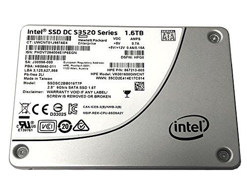 HP 867213-005 Intel DC S3520 Series 1.6TB 2.5-inch 7mm SATA III MLC (6.0Gb/s) Internal Solid State Drive (SSD) SSDSC2BB016T7P / (HP Model VK001600GWCNT) - New OEM w/ 5 Years (New Sata Drive)