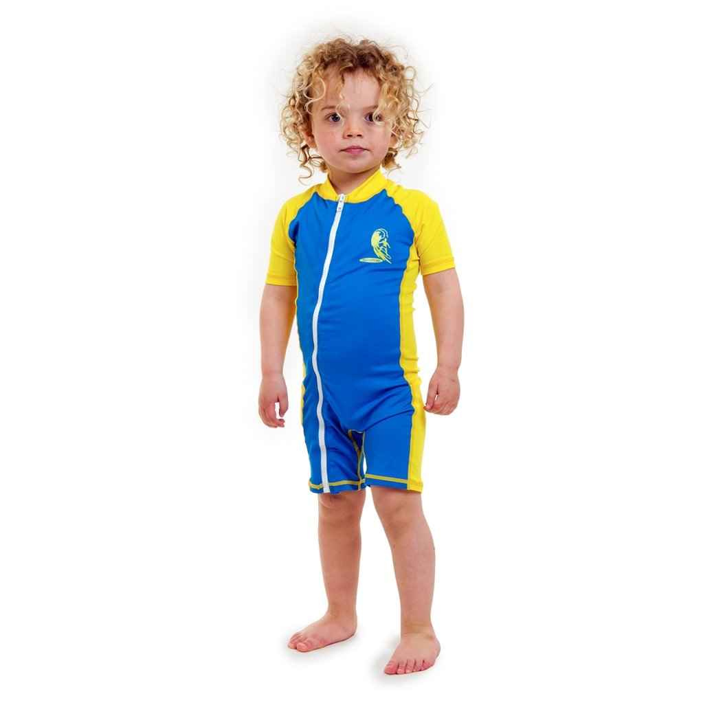 Baby infant size L sun UV Protection One-Piece Blue/yellow Swimsuit SPF+50 Swim Suit for Kids Age 24-36 Month Swimfree