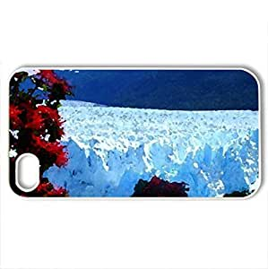 Glacier and Flowers in Argentina - Case Cover for iPhone 4 and 4s (Mountains Series, Watercolor style, White) by icecream design