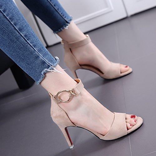 Pescado articula las sandalias del ante con Thin Mujer temperamento todas correspondan-Word con tacones altos en verano Nude color