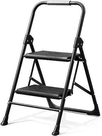 Felices juntos Escalera de Acero Negra Escalera Adulta casa Cocina Plegable Engrosamiento Escalera escaleras pequeñas multifuncionales Interiores para Subir (Size : A): Amazon.es: Hogar