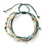 Joya Gift Adjustable Wrap Bracelet Bohemian Braided Beads Summer Beach Anklet for Women Girls