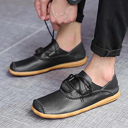 Trainers HUAN Loafers Leather 43 Shoes Size Color up Lace Flat Black Exercise Mens Casual Outdoor Shoes Sneakers 1xwFq1rP