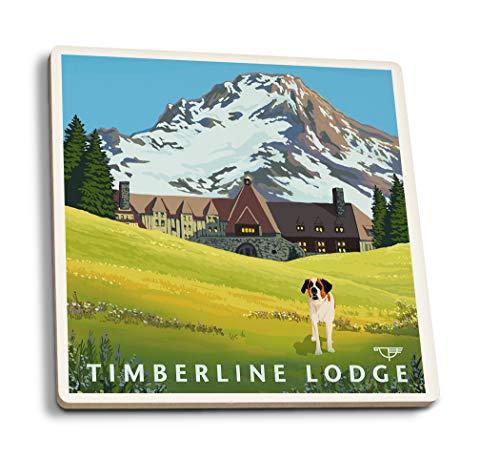 Mt. Hood, Oregon - Timberline Lodge - Spring (Set of 4 Ceramic Coasters - Cork-Backed, Absorbent)