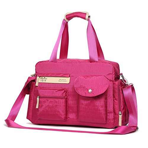 Mummy Bag Multi-funcional Diagonal Cruz Madre paquete de gran capacidad embarazadas Paquete Maternal Out Bolsas Set ( Color : Purple ) Rosa Roja