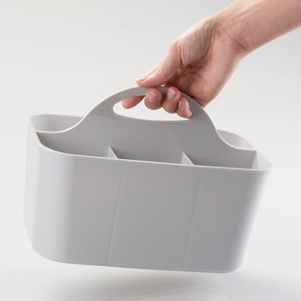 mDesign Plastic Cutlery Storage Organizer Caddy Bin - Tote with Handle - Kitchen Cabinet or Pantry - Basket Organizer for Forks, Knives, Spoons, Napkins - Indoor or Outdoor Use - Light Gray by mDesign (Image #3)