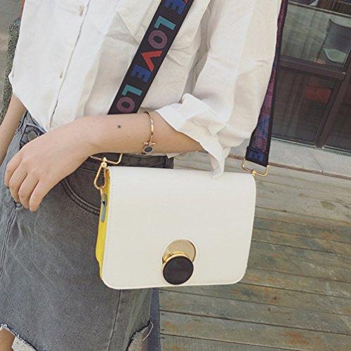 La de Cruzados Bolso Mujeres Elegante de de Pequeño YAANCUNN Bolso Correa PU Bolso Del Bolsos Hombro Blanco Mini Bolso Cuero pZ8wxS