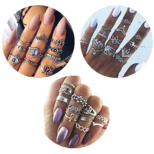 Besteel 34 Pcs Vintage Knuckle Rings for Women Girls Stackable Midi Finger Ring Set