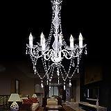 Tangkula Chandelier Ceiling Lighting 6 Light Crystal Pendant Lamp Fixture (White)