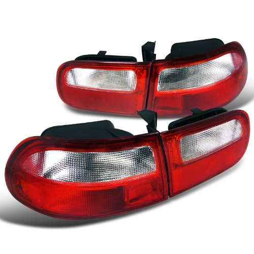Spec-D Tuning LT-CV923RPW-RS Honda Civic 3Dr Hatchback Rear Red/Clear Tail Brake Lights (1992 Honda Civic Si Hatchback)
