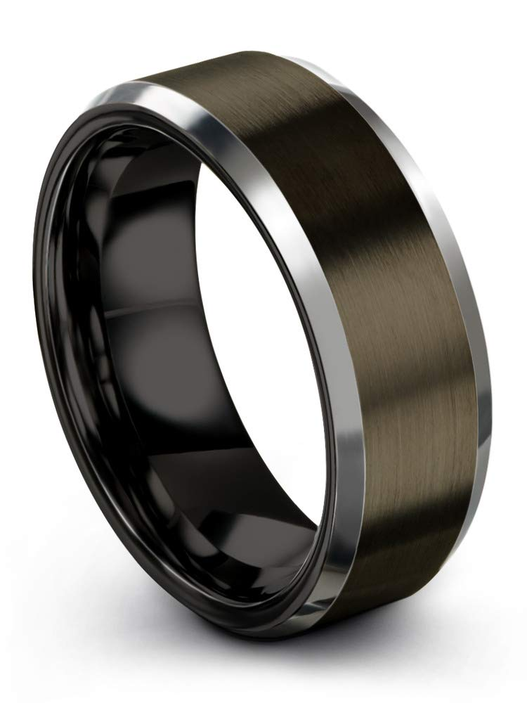 Chroma Color Collection Tungsten Carbide Wedding Band Ring 8mm for Men Women Black Interior with Gunmetal Exterior Beveled Edge Brushed Polished Comfort Fit Anniversary Size 9