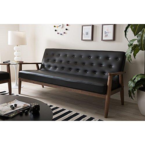 Baxton Studio Sorrento Mid-Century Retro Modern Faux Leather Upholstered Wooden 3-Seater Sofa, Black