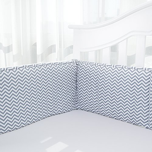 TILLYOU Breathable Crib Bumper Pads for Standard Cribs(Baby Boys & Girls), 27x52- Premium Woven Cotton and Microfiber Fill-in Padded Crib Liner, 4 Piece/Gray Zigzag Chevron