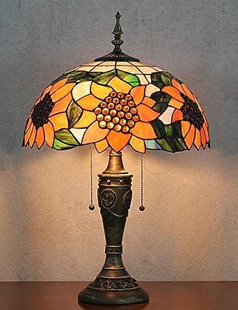 Amazon.com: Sunflower Pattern Table Lamp 2 Light Tiffany ...