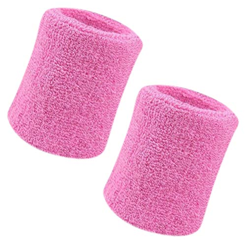 - Vidillo Sweatband, Wrist Sweatband 2 Pack, 4 Inch Sports Sweatband Wristband Soft Thicken Cotton,for Tennis Gymnastics Football Basketball, Running Athletic Sports (Pink)