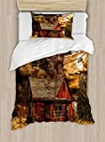 Ambesonne Scenery Duvet Cover Set Twin Size, Scary Horror Movie Themed Abandoned House in Pale Grass Garden Sunset Photo Print, Decorative 2 Piece Bedding Set with 1 Pillow Sham, Multicolor