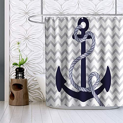 Boat Anchor Shower Curtain Vintage Navigation Ship Theme Fabric Bathroom Decor Sets with Hooks Waterproof Washable 72 x 72 inches Blue and Grey